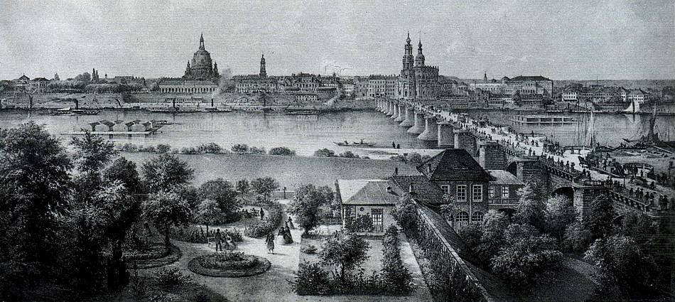 dresden historische bilder 05 biedermeiergarten garten der stadt wien lithographie um. Black Bedroom Furniture Sets. Home Design Ideas